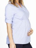 Maternity Cotton Roll Up Sleeve Nursing Shirt - Light Blue Stripes