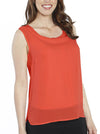 Layered Chiffon Sleeveless Nursing Top - Tangarine