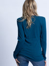 Maternity & Nursing Crossover Long Sleeve Tee Top - Teal