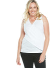 Maternity & Nursing Crossover Sleeveless Tee Top - White