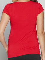 Basic Breastfeeding Short Sleeve Tee - Candy Red