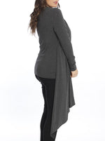 Maternity & Nursing Bamboo Drapped Front Top - Grey