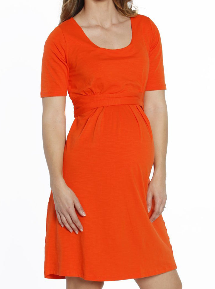 Busy Mummy Nursing Empire Waist Dress in Tangerine