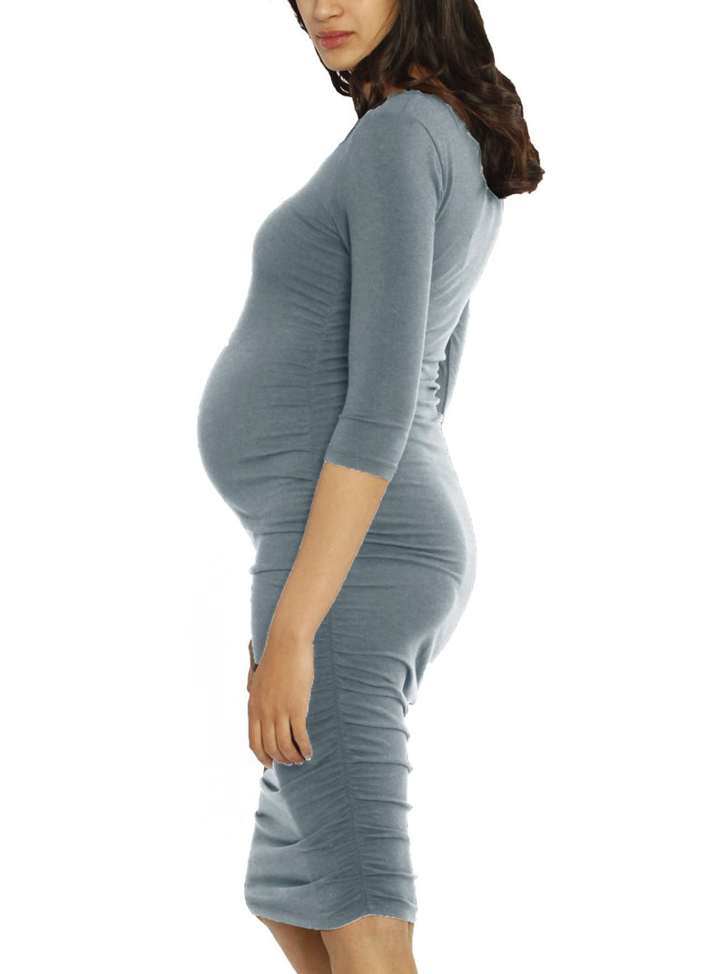 Bamboo Story Body Hugging Maternity Dress - Powder Blue pregnancy dress