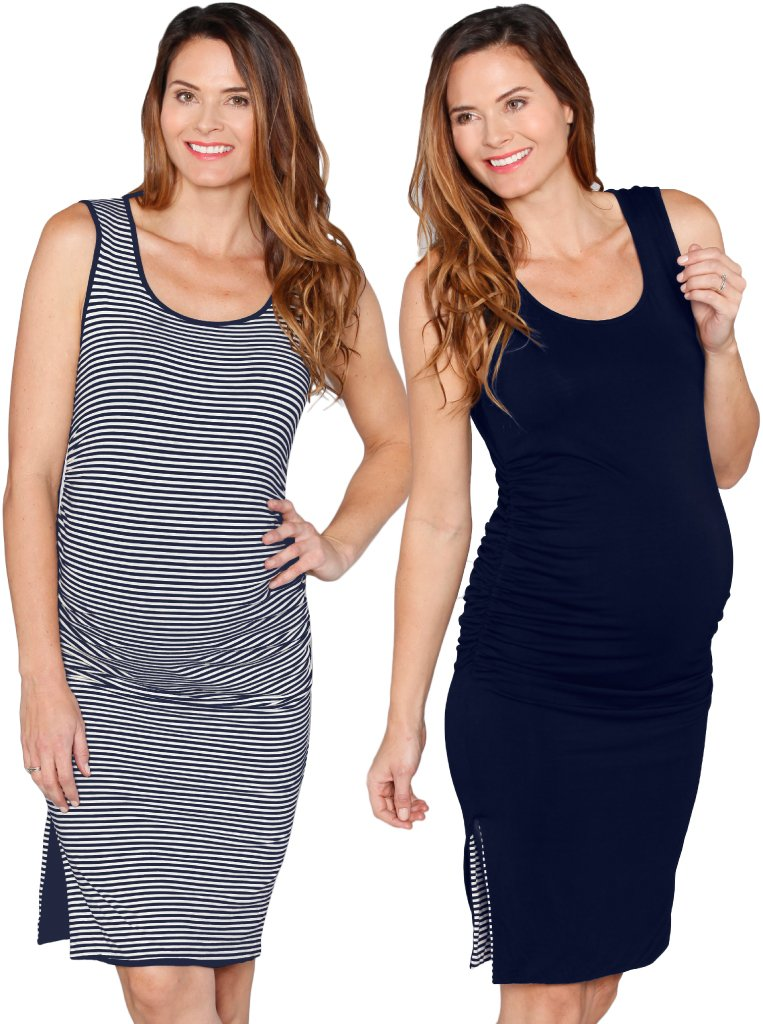 Reversible Maternity Dress in Navy Stripes - Angel Maternity - Maternity clothes - shop online