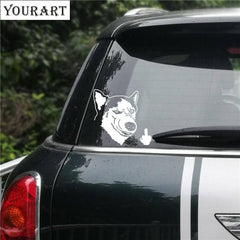 Middle Finger Husky Car Sticker