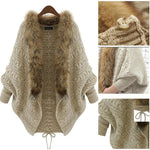 Fashion Women Faux Fur Sweater Loose Knitted Winter Batwing Cardigan - Toplen