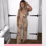 Womens Holiday Floral Playsuit Ladies Summer Sleeveless Long Maxi Jumpsuits - Toplen
