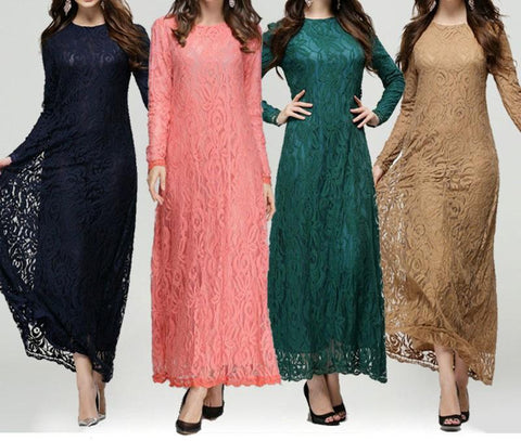 Women Long Sleeve Lace  Asian Style Long Maxi Dress - Toplen