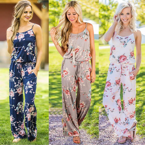 Sleeveless Floral Playsuit Ladies Summer Romper Long Jumpsuit - Toplen