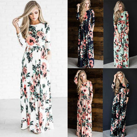 Ladies Floral Print Long Sleeve Boho Dress Evening Party Long Maxi Dress - Toplen