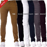 Mens Slim Fit Chinos Stretch Skinny Pants Casual Smart All Waist Jeans - Toplen