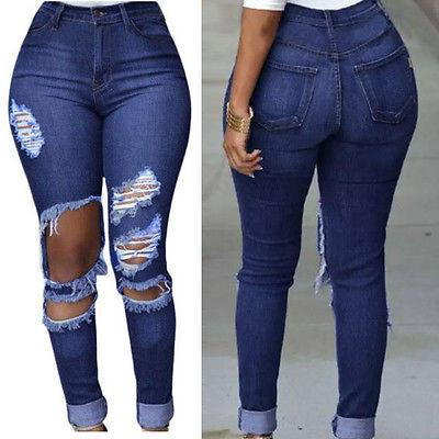 Women Denim Skinny Ripped High Waist Stretch Jeans Slim Pencil Trousers - Toplen