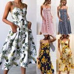 Womens Holiday Off Shoulder Floral Sundress Summer Beach Party Dress - Toplen