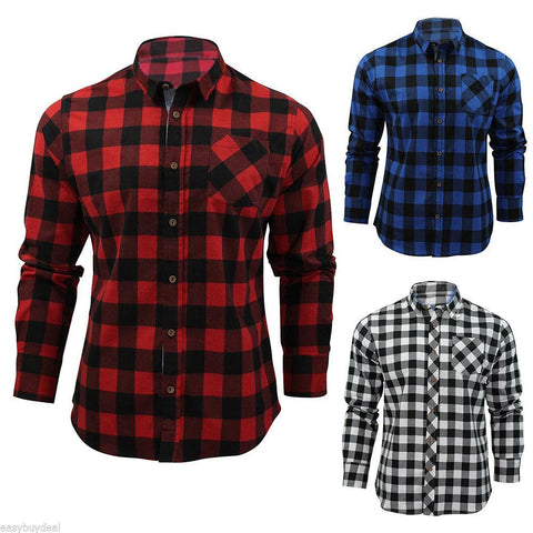 Men's Classic Check Long Sleeve Shirt Button Down Casual Shirt - Toplen