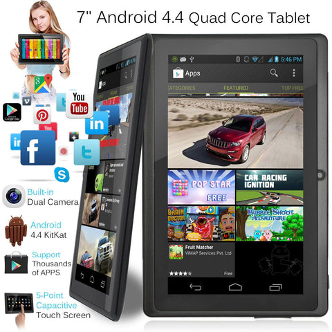 "7"" Inch Android Tablet 8GB Quad Core 4.4 Dual Camera Bluetooth Wifi - Toplen"