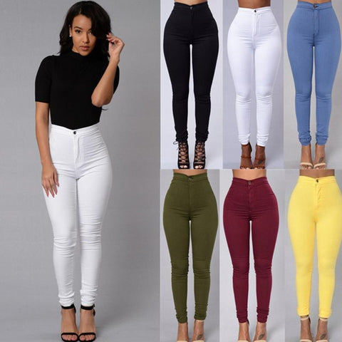 Women Pencil Stretch Casual Look Denim Skinny Jeans High Waist Trousers - Toplen