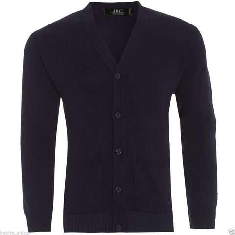 Mens Plain Knitted V Neck Buttoned Cardigan - Toplen