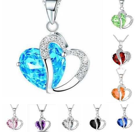 Fashion Women Pendant Jewelry Crystal Heart 925 Sterling Silver Necklace Chain - Toplen