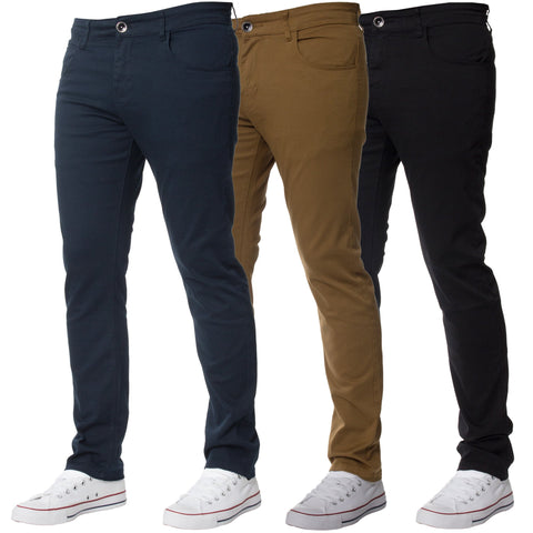Mens Slim Fit Chinos Stretch Skinny Casual Smart Jeans All Waist - Toplen