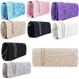 Womens Satin Floral Lace Designer Clutch Bag Evening Party Wedding Purse - Toplen