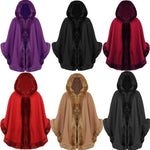 Ladies Celeb Towe Thick Faux Fur Trimmed Hooded Shawl Cloak Poncho Cape - Toplen