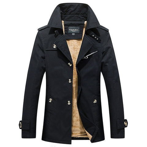 Mens Trench Coat Thicken Fleece Jacket - Toplen