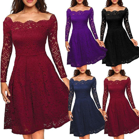 Ladies Lace Swing Skater Party Evening Retro Dress - Toplen
