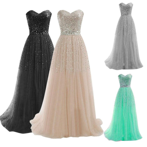 Long Formal Evening Prom Party Dress Bridesmaid Ball Gown Cocktail Dresses - Toplen