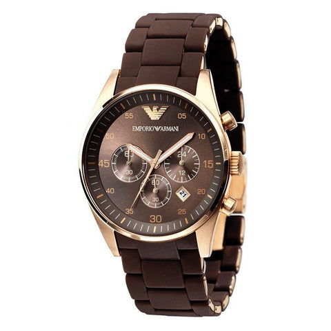 Emporio Armani AR5890 Mens Brown Chronograph Watch - Toplen