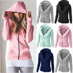 Ladies Womens Girls Plain Hoodie Sweatshirt Hooded Jumper Jacket Zip Top - Toplen