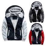 Men Hoodie Coat Jacket Winter Warm Thick Wool Zip Hooded Jacket - Toplen