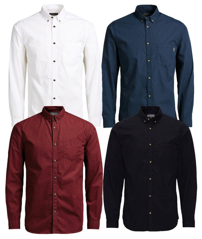 Mens JACK & JONES Long Sleeve Slim Fit Casual Smart Shirts - Toplen