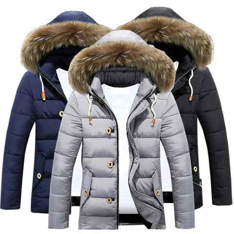 Mens Winter Warm Trench Coat Fur Hooded Jacket Parka - Toplen