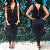 Womens Clubwear V Neck Playsuit Bodycon Party Jumpsuit Romper Trousers - Toplen