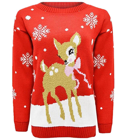 Womens Christmas Novelty Fairisle Penguin Reindeer Santa Snow Xmas Jumper - Toplen