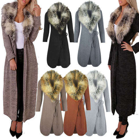 Ladies Women Faux Fur Collar Long Maxi Cardigan Sweater Coat - Toplen