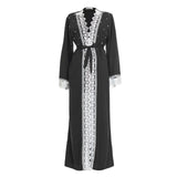 Lace Trim Open Full Length Maxi Overcoat Dress - Toplen