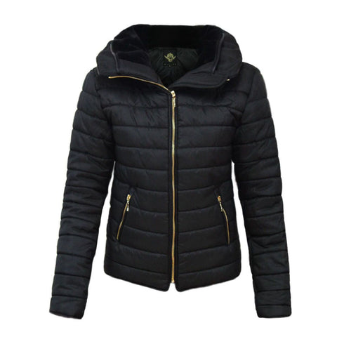 Womens Kids Ladies Quilted Padded Puffer Bubble Fur Collar Warm Jacket Coat - Toplen