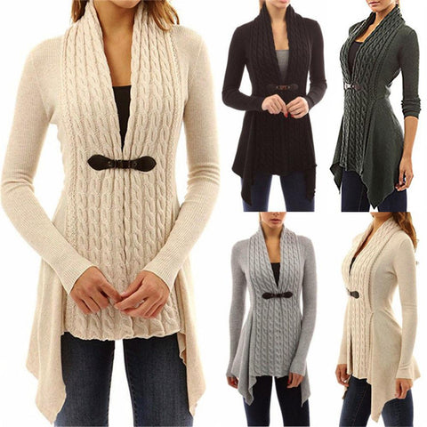 Women Long Knitted Sweater Tops Cardigan Overcoat Coat - Toplen