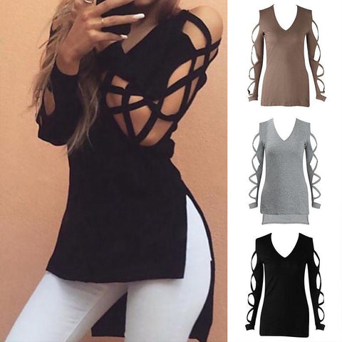 Fashion Ladies Loose V Neck T Shirt Long Sleeve Cotton Tops - Toplen