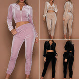 Ladies Velvet Tracksuit Sweatshirt Pants - Toplen