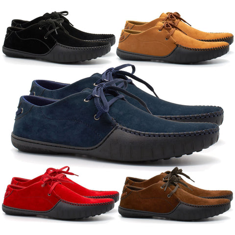Mens Casual Suede Leather Lace Up Smart Trainers Loafers Shoes - Toplen