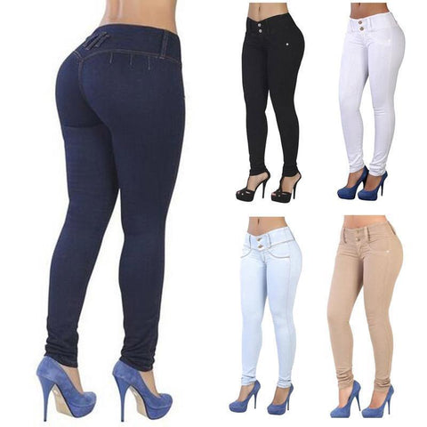 Women Pencil Stretch Casual Denim Skinny Jeans Pants High Waist Trousers - Toplen