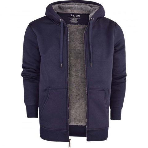 Mens Soft Fleece Zip Up Plain Hoodies - Toplen