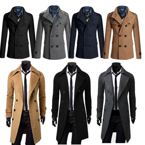 Mens Winter Gent Slim Fit Double Breasted Overcoat - Toplen