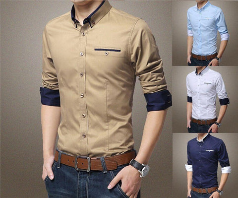Mens Casual Double Collar Slim Fit Button Down Shirt Long Sleeve - Toplen