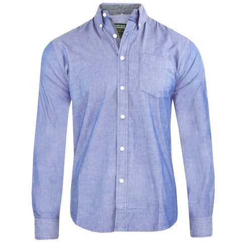 Mens Long Sleeved Oxford Shirt Button Down Collar - Toplen