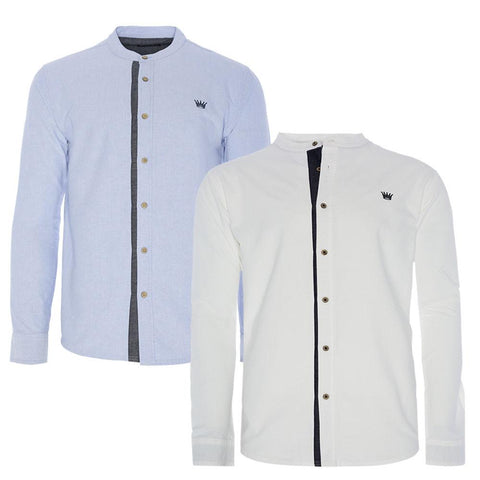 Mens Collarless Shirts by Brave Soul Long Sleeved - Toplen