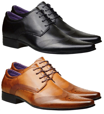 Mens Leather Lined Italian Casual Formal Brogues Office Wedding Shoes - Toplen
